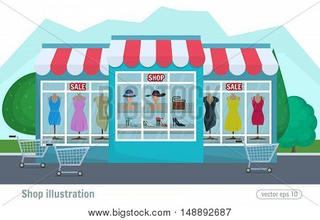 Vector Illustration Of A Clothing Store. Colorful Decorative Shop And Supermarket Shopping Building