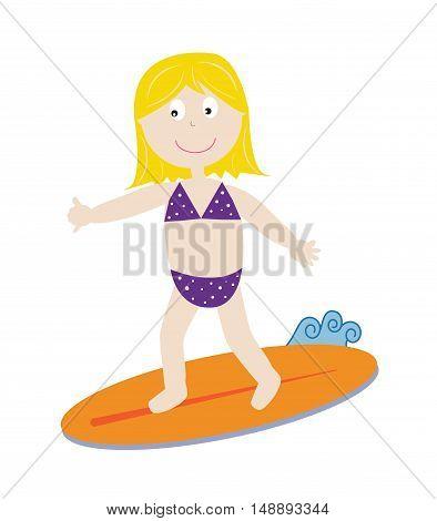 Cute Surfer Wearing Bikini Swimsuit Bathingsuit Girl