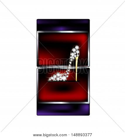dark background, black red gift box and the jewelry shoe
