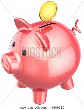 Piggy bank colored pink classic