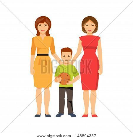 Women lesbian couple with a child. Same-sex marriage