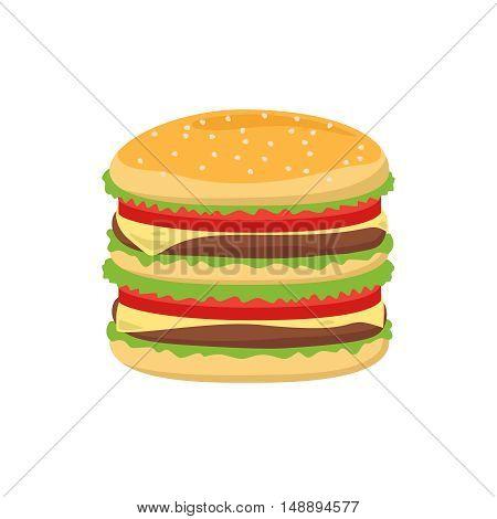 Dinner buns burger vector icon. Hamburger vector illustration food closeup on white background