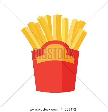 French fries in paper box flat vector icon. Yellow fast food fried potatoes package isolated on white background