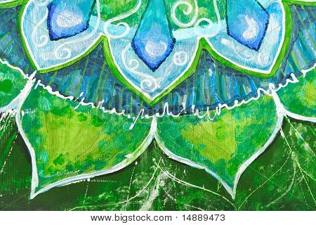 Closeup Of Bright Green Painted Picture With Circle Pattern, Mandala Of Anahata Chakra