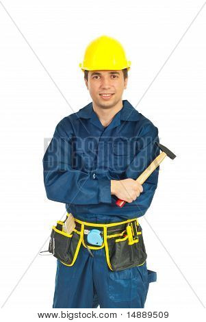 Young Workman Holding Hammer