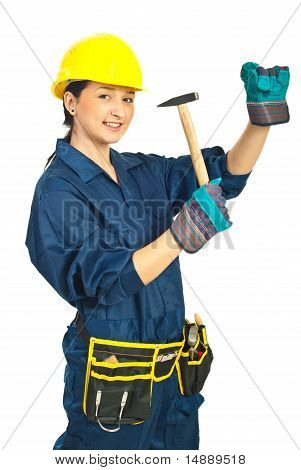 Young Worker Woman With Hammer