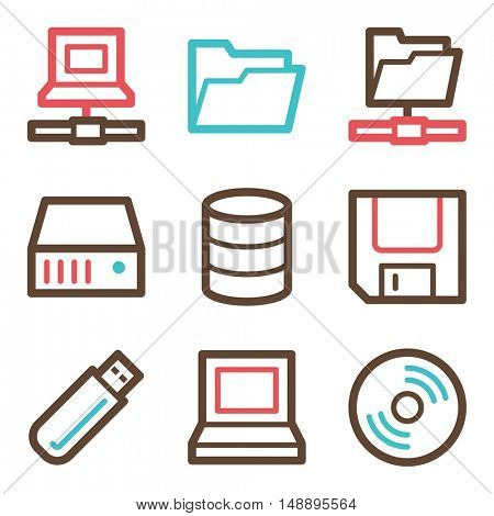 Database web icons set. Software and computers mobile symbols.