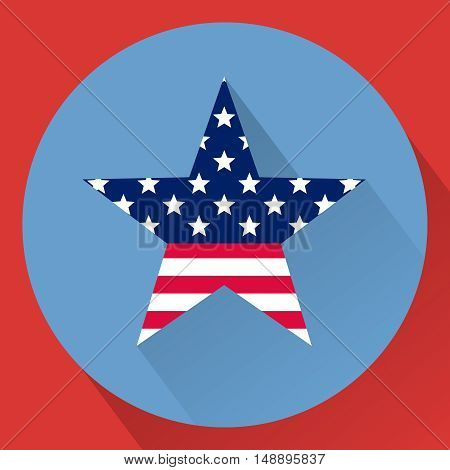 The 4th of July. Independence day USA. Patriotic star. National colors. United States of America. Flat illustration.