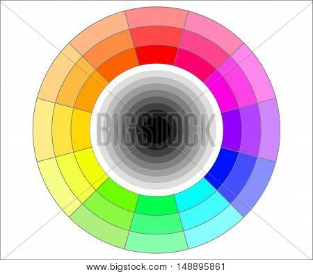 Simple color wheel with shades of grey vector illustration