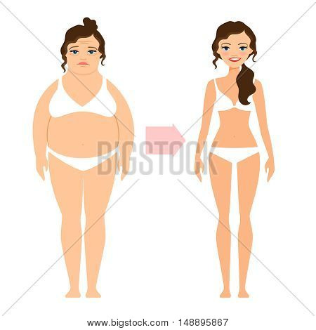 Fat lady and slim diet woman. Unhealthy and healthy lifestyle people isolated on white background. Vector illustration