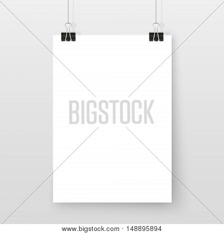 Poster On Binder Clips Simple Mock Up Set White