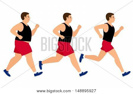 Weight loss running man. Fat and slim man before and after jogging vector illustration