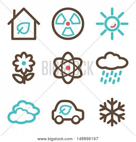 Ecology icon, green technology mobile sign. Eco infographics symbols