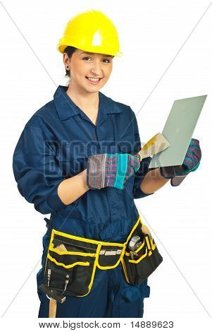 Worker Woman Holding Notched And Wall Scraper