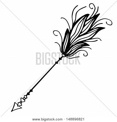 Very high quality original illustration of arrow with feathers