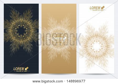Modern set of vector flyers. Geometric abstract presentation with golden mandala. Molecule and communication background for medicine, science, technology, chemistry