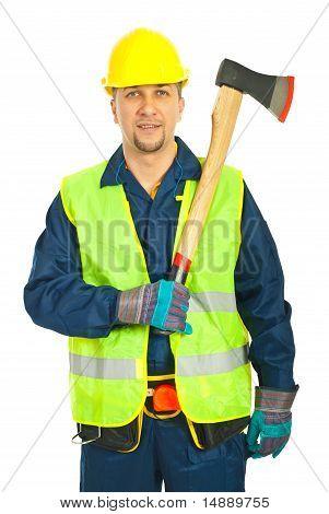 Cheerful Workman Holding Axe