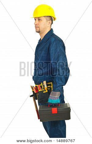 Repairman Holding Tool Box