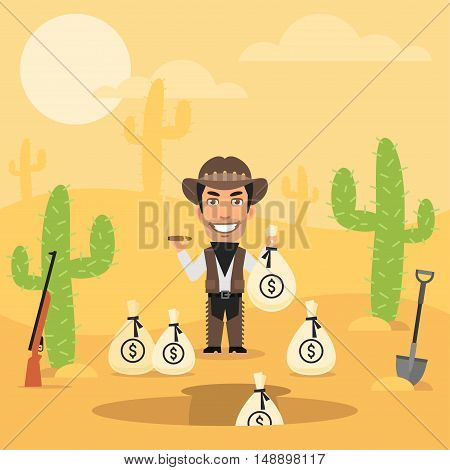 Vector Illustration, Cowboy Robber Hides Money in Desert, Format EPS 8
