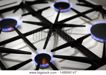 Gas burners with blue flame on domestic stove