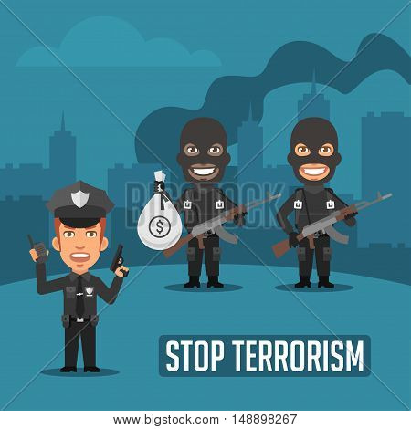 Vector Illustration, Policeman and Terrorists in City, Format EPS 8