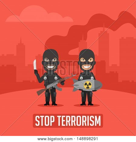 Vector Illustration, Terrorists in City With Weapons, Format EPS 8