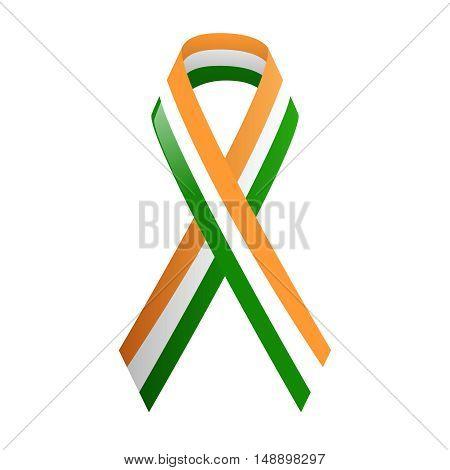 Ribbon India national colors, vector stock illustration, EPS10