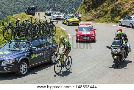 Col D'AspinFrance- July 15 2015: The Dutch cyclist Dylan van Baarle of Cannondale-Garmin Team climbing the road to Col D'Aspin in Pyrenees Mountains during the stage 11 of Le Tour de France 2015.