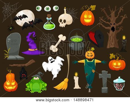 Halloween fashion flat icons isolated on brown background. Halloween vector characters. Pumpkin, witch copper, skull, coffin and other cute Halloween things