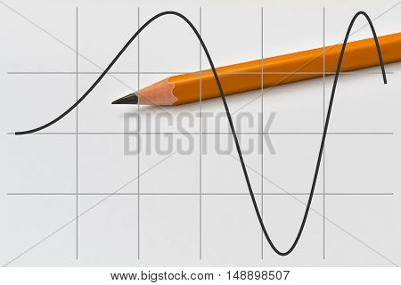 Graph of a part of sine function and yellow pencil