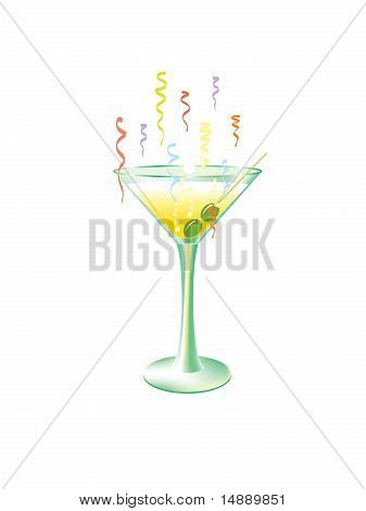 Martini glass with olives and party streamers