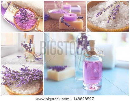 Collage of lavender SPA compositions. Beauty treatment concept.