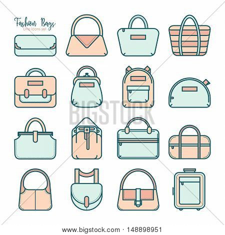 Set of colored fashion bag line icons, vector illustration isolated on white background. Set of 16 various thin line fashion bag icons in four colors