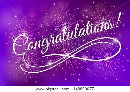 Congratulations. fireworks glowing fire blurred blue purple background. Poster, greeting card, banner invitation. Hand drawn design, handwritten modern brush lettering vector