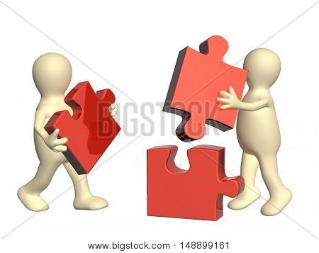 Success of teamwork. Two puppets with multi-colored puzzles. Isolated on white background. 3d render