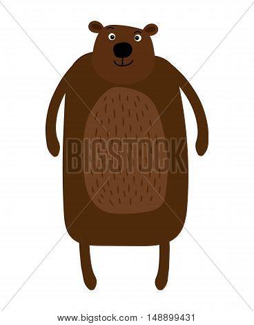Big brown bear cartoon type standing and smiling