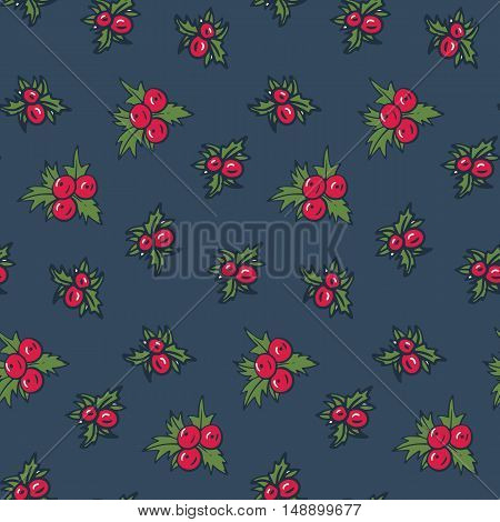 Seamless Christmas pattern with holly berry on a black background in doodle style. Hand-drawn illustration. Vector.
