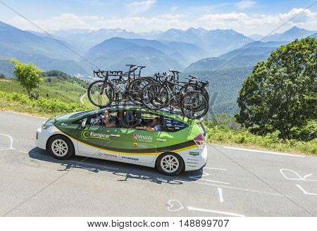 Col D'AspinFrance- July 152015: Technical car of Europcar Team driving on the road to Col D'Aspin in Pyrenees Mountains during the stage 11 of Le Tour de France 2015.