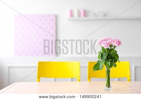 Bouquet of fresh  flowers on  table