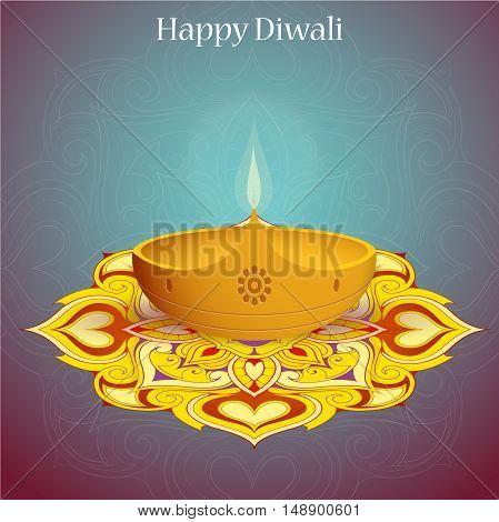 Elegant greeting card design for Indian festival Diwali