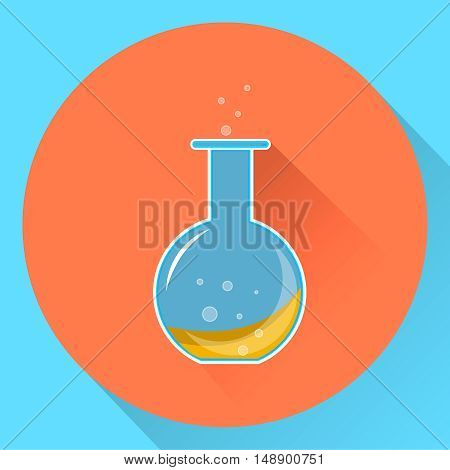 glass chemical flask with a liquid substance inside. Flat icon. Vector illustration. EPS10