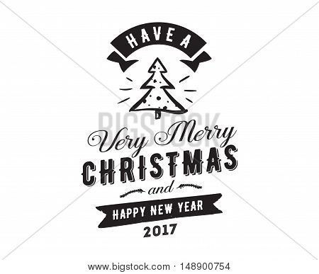 Merry Christmas and Happy New Year text design. Vector logo, typography. Usable as banner, greeting card, gift package etc.