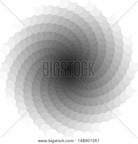 Vector Black and White Spiral Circles Swirl Abstract Round Optical Illusion
