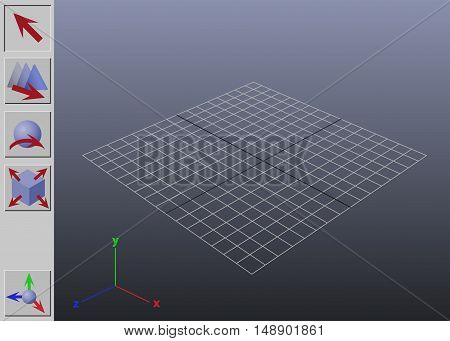 Stylized generic 3D application interface vector illustration