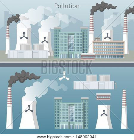 Energy Industry Air Pollution Cityscape. Vector illustration