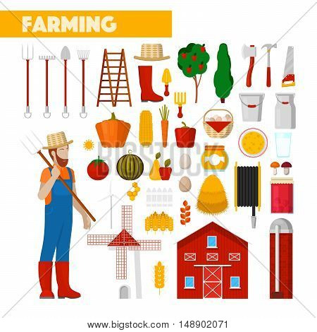 Farmer with Farming Equipment Fresh Natural Food and Windmill. Vector illustration