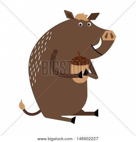 Thick wild boar sitting and holding acorn