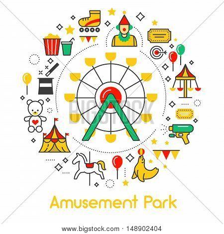 Amusement Park Line Art Thin Vector Icons Set with Ferris Wheel