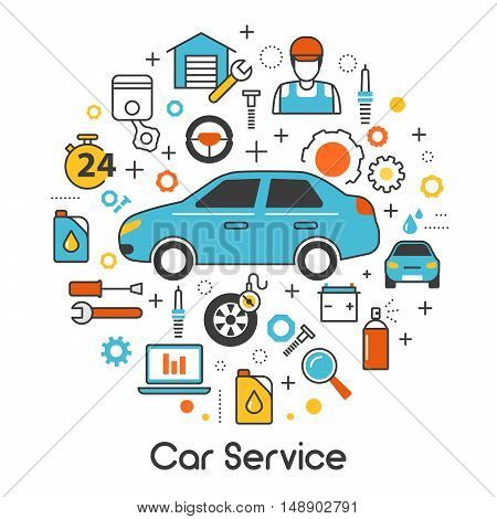 Car Auto Maintenance Service Line Art Thin Vector Icons Set with Vehicle and Mechanic Tools