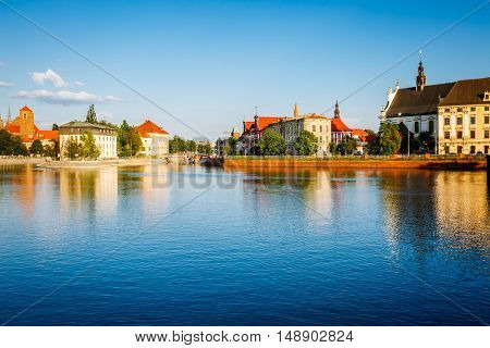 Fantastic view of the ancient city Wroclaw. Picturesque scene. Location: famous place Odra river, Poland, Europe. Historical capital of Silesia. Beauty world.